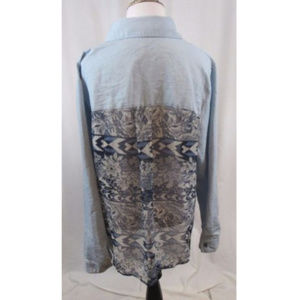 New Directions Blue Chambray Mixed Media Top 0X